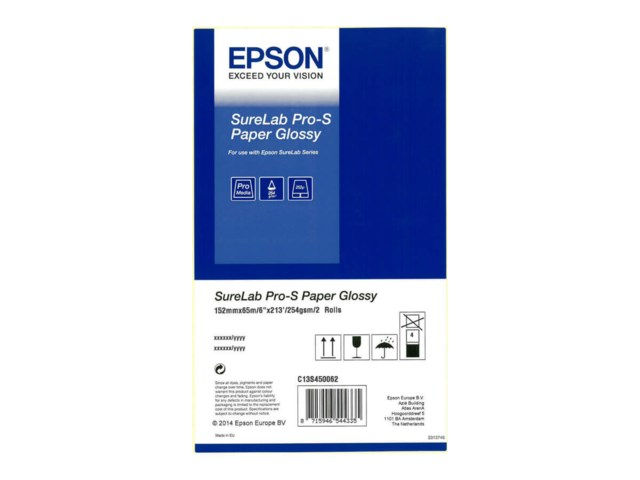 "Epson SureLab Pro-S Paper Glossy Rulle 6"" x 65m 2-pack"