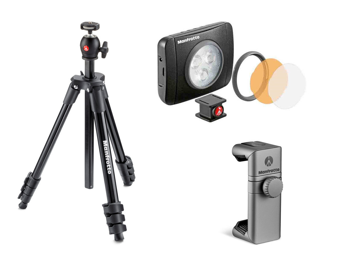 Manfrotto Stativ Compact Light svart +LED-belysning Lumie