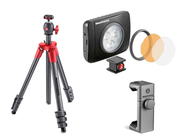 Manfrotto Stativ Compact Light röd +LED-belysning Lumie