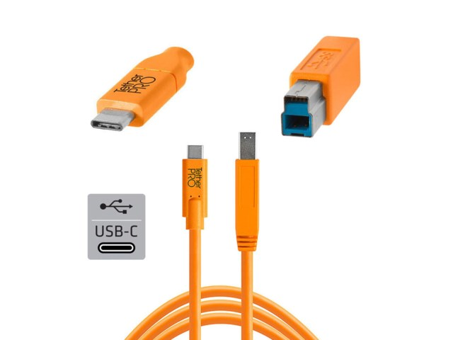 Tether Tools TetherPro kabel USB-C till Hane B 4,6 meter orange