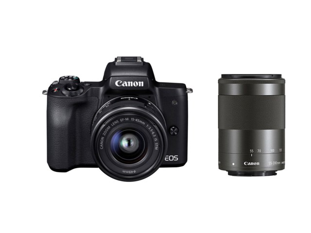 Canon EOS M50 svart med EF-M 15-45/3,5-6,3 IS STM + EF-M 55-200mm f/4,5-6,3 IS STM
