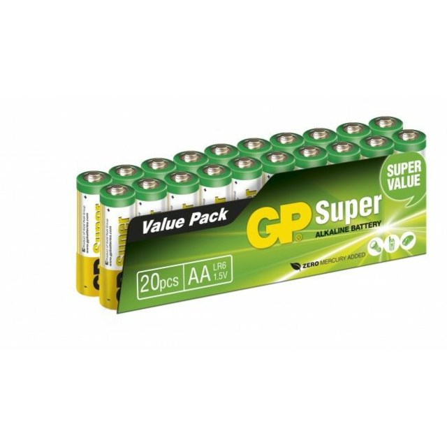 GP Super Alkaline AA-batteri, 15A/LR6, 20-pack