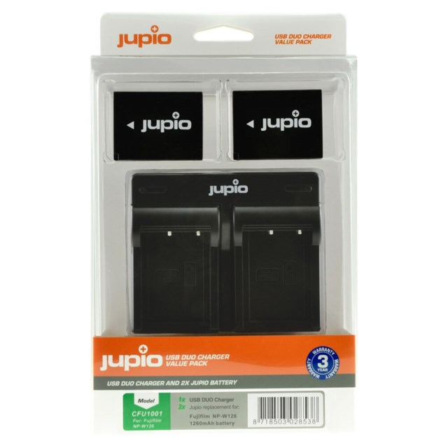Jupio NP-W126S 1260mAh 2-Pack + USB Dual Charger Fuji Film Batteri