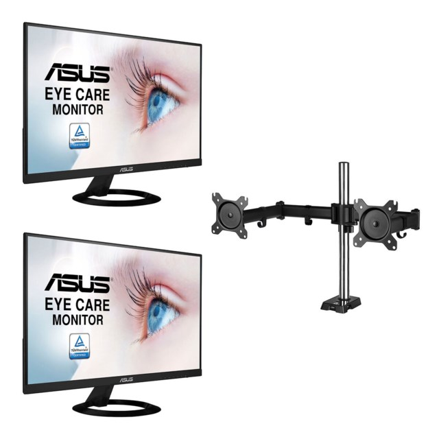 "Scandinavian Photo Office Monitor Kit - 2x Acer EK240YA 23,8"" + Arctic Z2 (Gen 3) monitorarm"