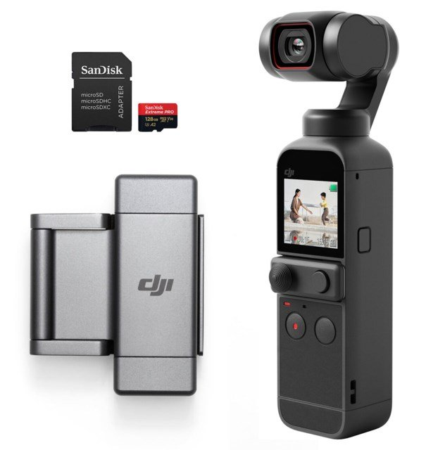 DJI Pocket 2 + Phone Clip + 128GB minneskort