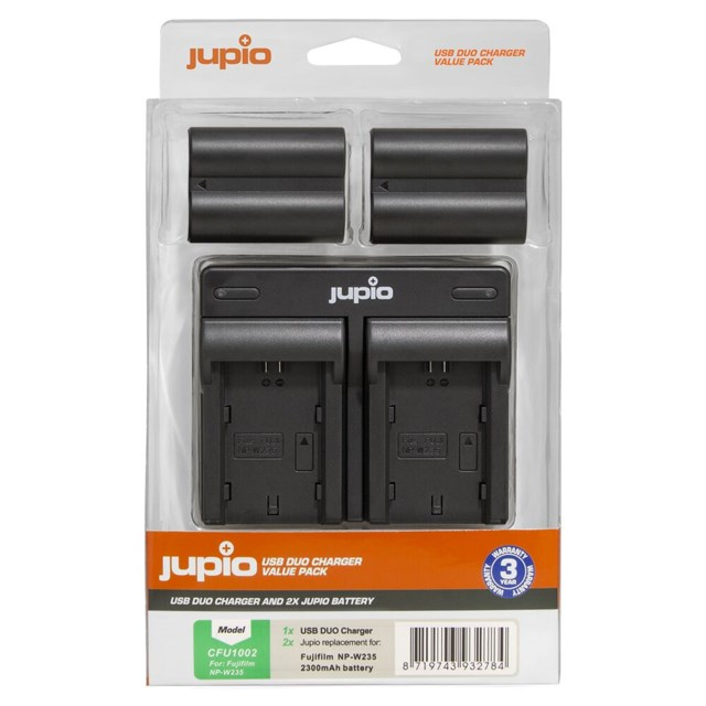 Jupio NP-W235 2300mAh 2-Pack + USB Dual Charger FujiFilm Battery