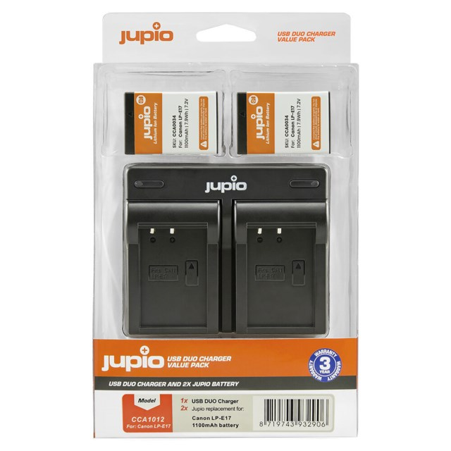 Jupio LP-E17 1100mAh 2-Pack + USB Dual Charger