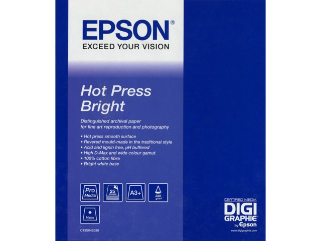 Epson Hot Press Bright A2 340gr 25blad