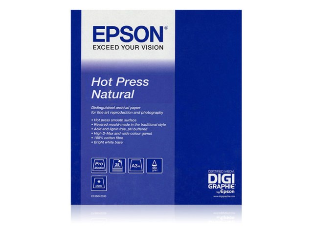 "Epson Fotopapper rulle Hot Press Natural 24"" x 15 meter"